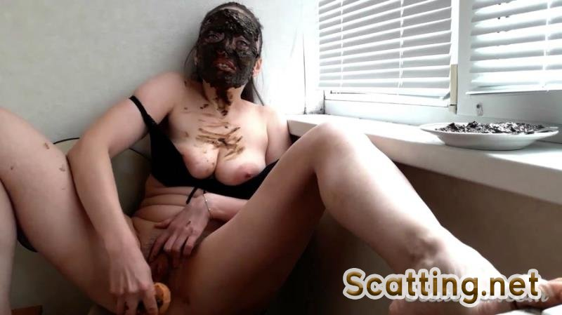 ScatLina - Masturbation on the with balcony (Big pile, Solo) Desperation [FullHD 1080p]